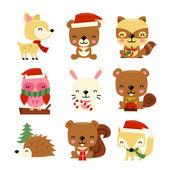 Christmas Woodland Creatures — Stock Vector