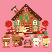 Christmas Woodland Creatures Gingerbread House — Stock Vector