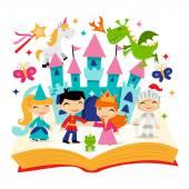 Retro Magical Fairytale Kingdom Story Book — Stock Vector