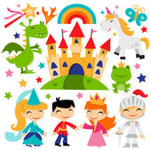 Retro Magical Fairytale Kingdom Set — Stock Vector