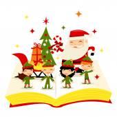 Christmas Santa Elves Story Book — Stock Vector
