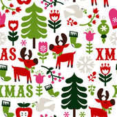 Nordic Christmas Seamless Pattern Background — Stock Vector