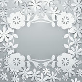 Paper Cut Flowers Cluster 3D Layer Frame — Stock Vector