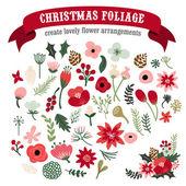 Vintage Hand Drawn Christmas Botanical Foliage Set — Stock Vector