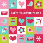 Retro Sweet Valentine Tiles copy space — Stockvektor