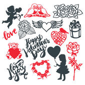 Valentine's Day Silhouette Design Elements Set — Stock Vector