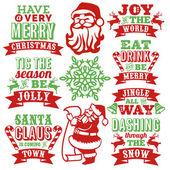 Винтаж бумаги вырежьте набор искусства слова Рождество — Cтоковый вектор