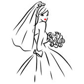 Vector Ink Line Art Bride — Stock Vector