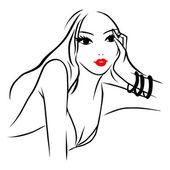 Vector Ink Line Art Beautiful Woman Pondering — Stock Vector
