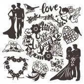 Vintage Paper Cut Wedding Silhouette Set — Stock Vector