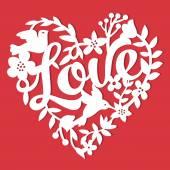 Vintage Paper Cut Love Floral Heart Lace — Stock Vector