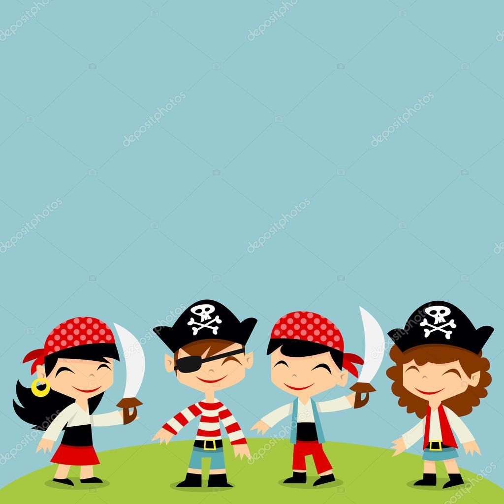 Retro pirate adventure kids copy space stock vector for Childrens pirate bedroom ideas