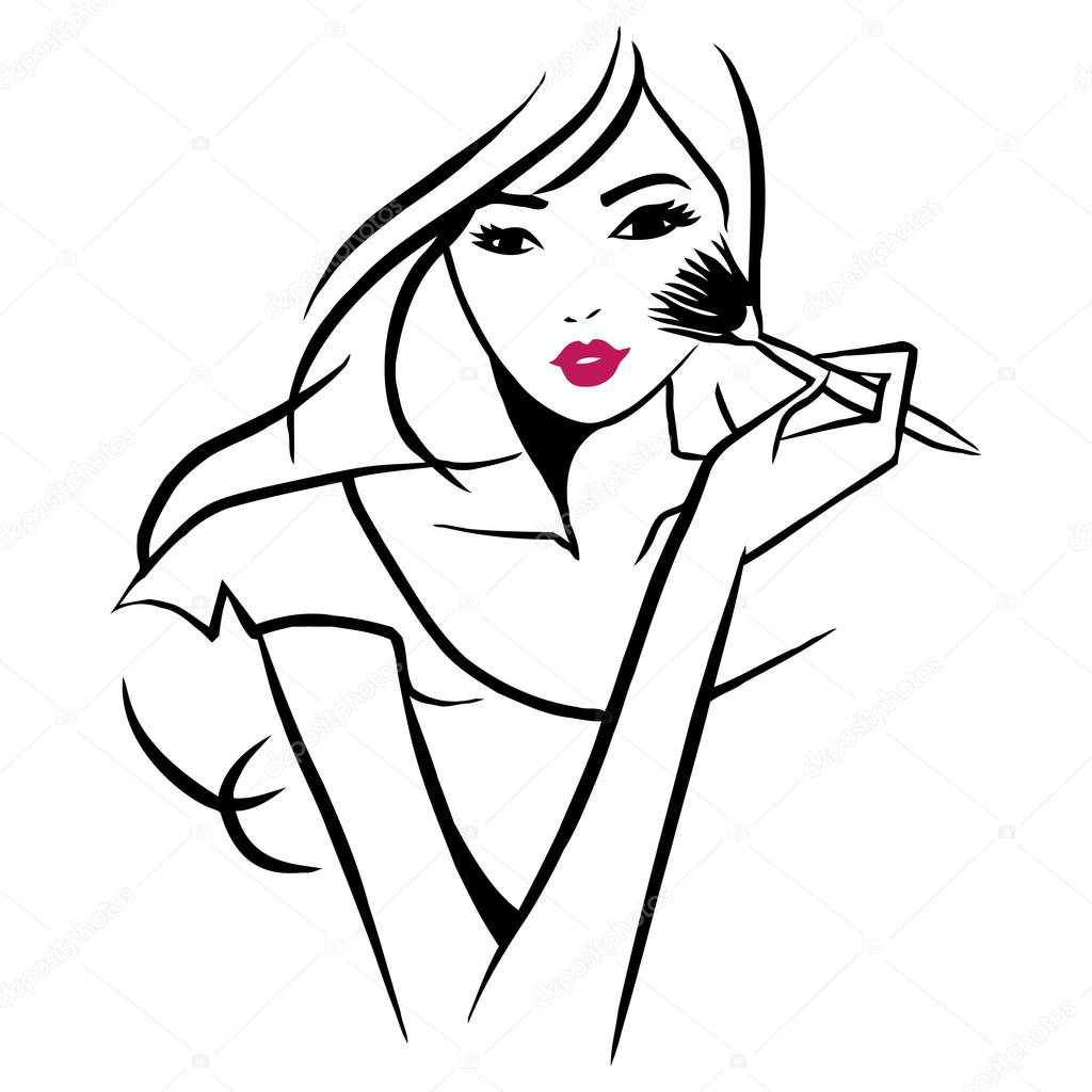 Line Drawing Face Vector : Vector ink line art beautiful girl applying makeup — stock
