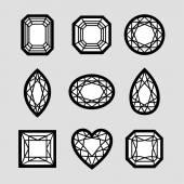 Diamonds Line Art — Stockvektor