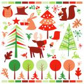 Retro Festive Forest Holiday Design Elements — Stock Vector
