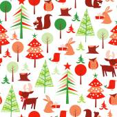 Retro Festive Forest Holiday Seamless Pattern Background — ストックベクタ