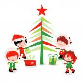 Christmas Tree And Cute Winter Kids — Stock Vector
