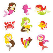 Mermaids And Friends — Stock Vector