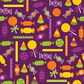 Halloween Trick Or Treat Candies Seamless Pattern Background — Stockvektor