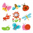 Постер, плакат: Happy Sweet Garden Bugs Icons