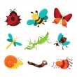 Happy Bugaboo Insects Icons — Stock Vector #71585837