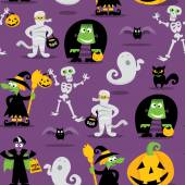Halloween Monsters Seamless Pattern Background — Stockvektor