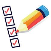 Cartoon Check List With Pencil — Stock Vector