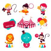 Carnival Circus Icons — Stock Vector