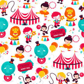 Carnival Circus Seamless Pattern Background — Stock Vector