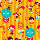 Carnival Circus Performers Seamless Pattern Background — Stock Vector