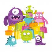 Happy Silly Cute Monster Sale — Stock Vector