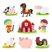 Happy Barnyard Farm Friends — Stock Vector