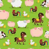 Happy Barnyard Farm Animals Seamless Pattern Background — Stock Vector