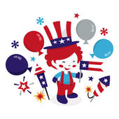 Americana Patriotic Clown Kid — Stock Vector