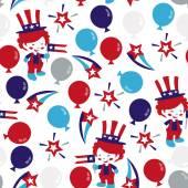 Americana Patriotic Seamless Pattern Background — Stock Vector