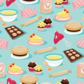 Baking Icons Seamless Pattern Background — Stock Vector