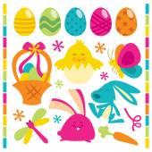 Retro Happy Easter Set — Stock Vector