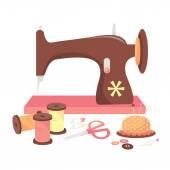 Sewing Machine & Haberdashery — Stock Vector