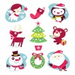 Whimsical Fun Christmas Characters and Decorations — Stock Vector #72501749