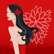 Sexy Beautiful Brunette Floral Girl — Stock Vector #72503247