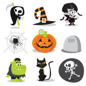 Halloween Characters and Objects — Stock Vector