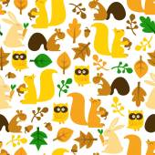 Retro Woodland Creatures Seamless Pattern Background — Stock Vector