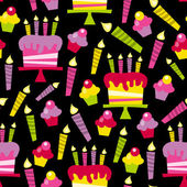 Retro Party Time Cakes And Candles Seamless Pattern Background — Stockvector