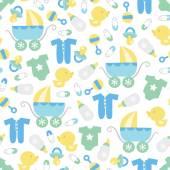 Retro Baby Boy Seamless Pattern Background — Stock Vector