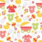 Retro Baby Girl Seamless Pattern Background — Stock Vector