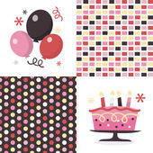 Balloons Cakes And Patterns — Stock Vector