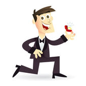Cartoon Man Wedding Proposal — Stock Vector