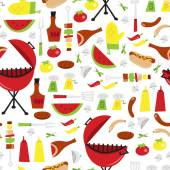 Summer Barbecue Party Seamless Pattern Background — Stock Vector