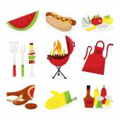 Summer Barbecue Icons — Stock Vector
