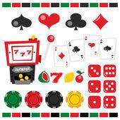 Retro Casino Night Design Elements — Stock Vector